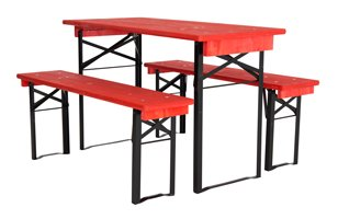half table and benches set- red black