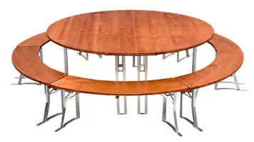 Table and benches set two meters diameter