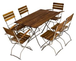 picnic, pub or garden table with picnic, pub or garden chairs and armchairs
