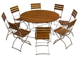 picnic, pub or garden round table with picnic, pub or garden chairs