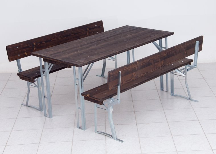 Pub set with four legged table wood colour Rio rosewood