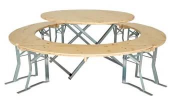 120 round table and benches set