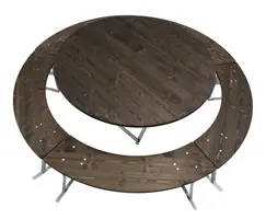 round table and benches set-medium table