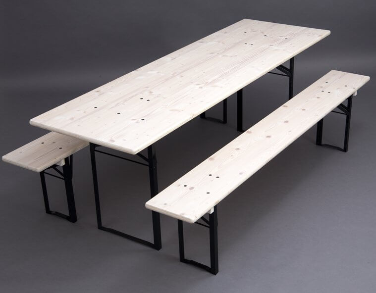 Table and benches set with white glazed wooden surface
