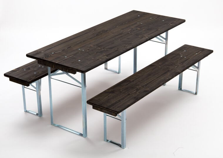 Table and benches set wood paint ebony frames galvanized