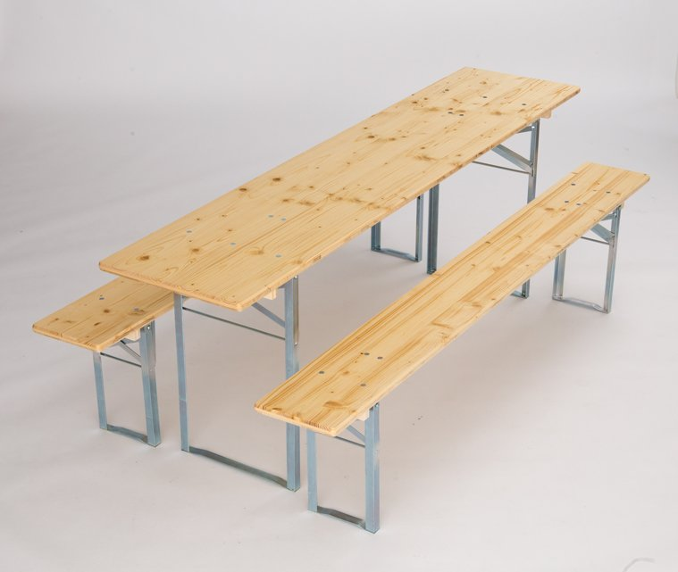 Table and benches set standard fittings galvanized