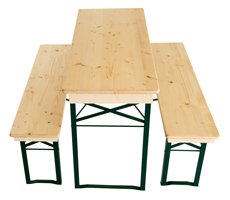 Bench set short clear lacquered fittings green