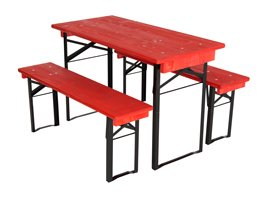 short red table and benches set