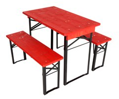 shortest table and benches set red