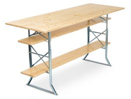 Standing table due to table heightening and foot rest