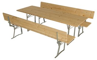 Table and bench set with backrest extra wide No.176