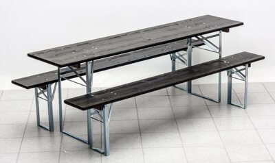 Table and benches set Standard galvanized with ebony-coloured glazed wood panels No.181