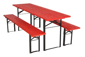 Benches and table set standard red