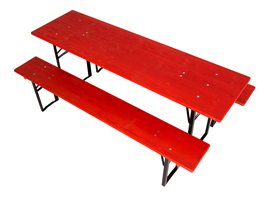 Table and benches set 220 cm red