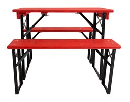 short table and benches set- red black