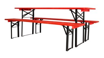 black red table and benches sets