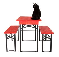 Table and benches set with cat Sally