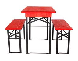 short table and benches sets black red