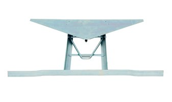T-shaped table frame with triangular iron top