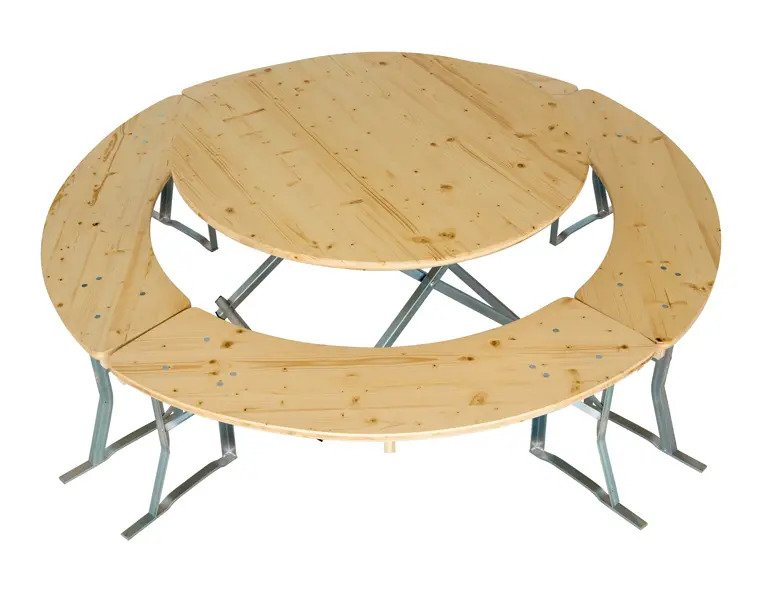 Round tables and benches_set example