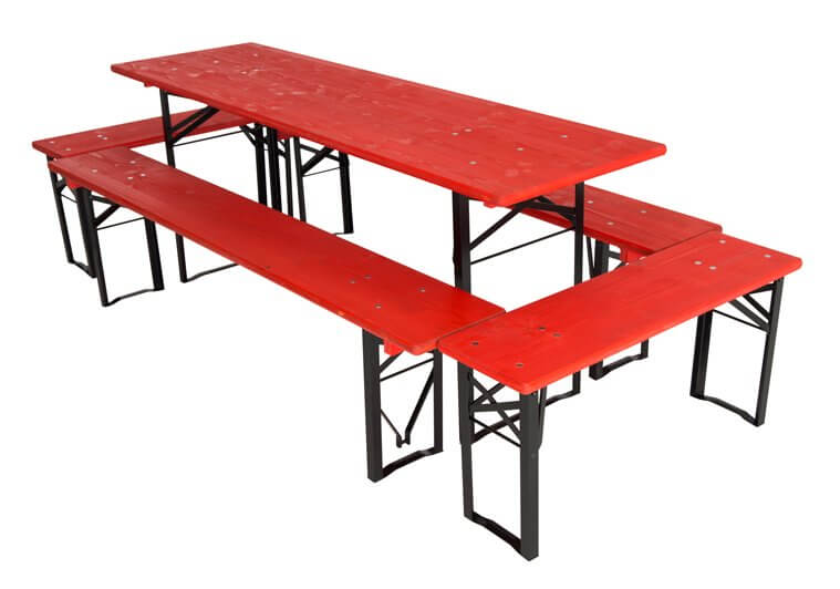 Table and benches set RAL 3001 red