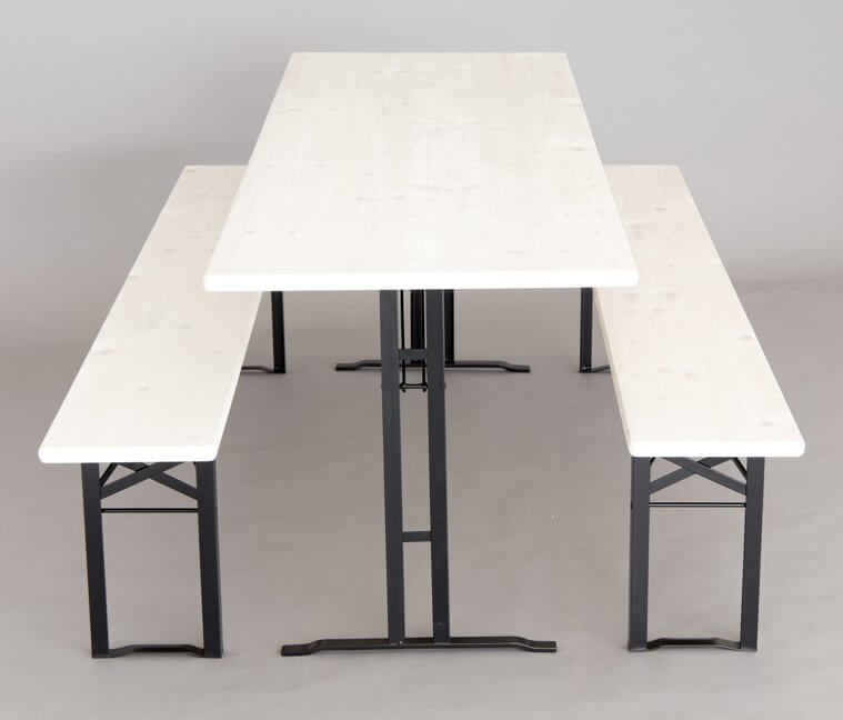 Table and benches set white glazed