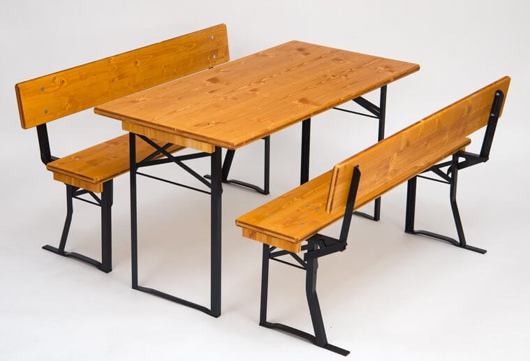 Table and benches sets with back teak